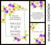 romantic wedding invitation... | Shutterstock . vector #1142455634