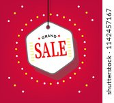 grand sale tag on red... | Shutterstock .eps vector #1142457167