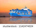 container cargo ship sailing in ... | Shutterstock . vector #1142474024