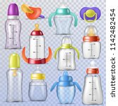 baby bottle vector kids plastic ... | Shutterstock .eps vector #1142482454