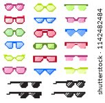 glasses pixel with eyes vector... | Shutterstock .eps vector #1142482484