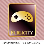 gold emblem with video game... | Shutterstock .eps vector #1142483147