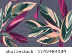 floral seamless pattern. leaves ... | Shutterstock .eps vector #1142484134