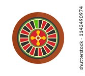 casino wheel icon. flat... | Shutterstock .eps vector #1142490974