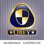 gold badge or emblem with...   Shutterstock .eps vector #1142501114