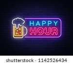 happy hour neon banner vector... | Shutterstock .eps vector #1142526434