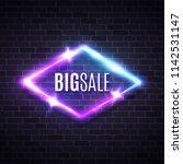big sale neon rhomb sign on... | Shutterstock .eps vector #1142531147