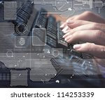computer keyboard and multiple... | Shutterstock . vector #114253339