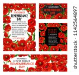 remembrance day red poppy... | Shutterstock .eps vector #1142564897