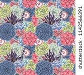 vector succulents seamless... | Shutterstock .eps vector #1142566391