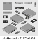 isometric vintage gray vcr  old ... | Shutterstock .eps vector #1142569514