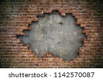 old red brick wall damaged... | Shutterstock . vector #1142570087