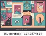 graphic designer at his desk.... | Shutterstock .eps vector #1142574614