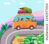 summer journey on the bus with... | Shutterstock .eps vector #1142577014