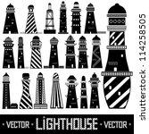 lighthouse set silhouette | Shutterstock .eps vector #114258505