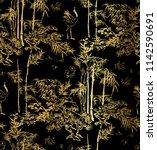 bamboo bird crane tree vector... | Shutterstock .eps vector #1142590691
