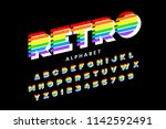 colorful retro font  80s style... | Shutterstock .eps vector #1142592491