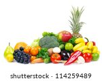 fresh vegetables and fruits on... | Shutterstock . vector #114259489