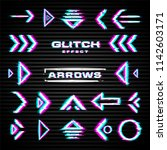 set of glitch arrows  pointers  ... | Shutterstock .eps vector #1142603171