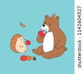 cartoon cute autumn bear and... | Shutterstock .eps vector #1142604527