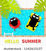 hello summer. swimming pool.... | Shutterstock .eps vector #1142613137