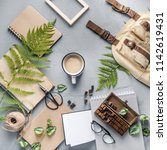 hipster travel objects flatlay... | Shutterstock . vector #1142619431