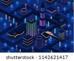 isometric futuristic night city ... | Shutterstock . vector #1142621417