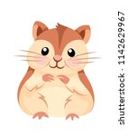 Stock vector cartoon animal illustration cute hamster sit and smiling flat character design vector 1142629967