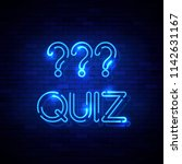 quiz neon sign on the brick... | Shutterstock .eps vector #1142631167