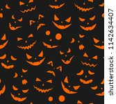 set of scary faces halloween... | Shutterstock .eps vector #1142634407