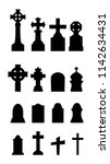graveyard icons set on white... | Shutterstock .eps vector #1142634431