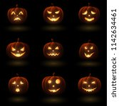 Set Of Halloween Pumpkins With...