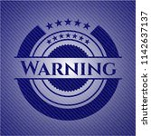warning emblem with jean texture | Shutterstock .eps vector #1142637137