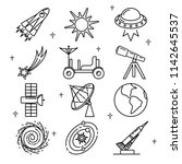 space icons collection in thin... | Shutterstock .eps vector #1142645537