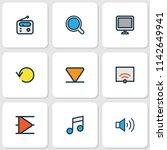 media icons colored line set... | Shutterstock .eps vector #1142649941