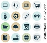 gadget icons set with gamepad ... | Shutterstock .eps vector #1142649944