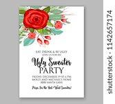 red rose fir pine branch... | Shutterstock .eps vector #1142657174