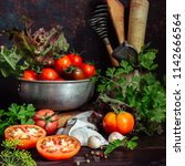 fresh tomatoes and parsley ... | Shutterstock . vector #1142666564