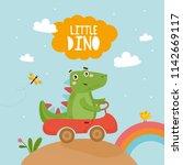 little dino  cute childish card ...   Shutterstock .eps vector #1142669117