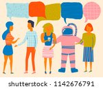 people having a discussion... | Shutterstock .eps vector #1142676791