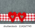 Folk Background With Red Heart...
