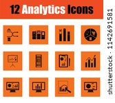 analytics icon set. orange... | Shutterstock .eps vector #1142691581