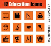 education icon set. orange... | Shutterstock .eps vector #1142691587