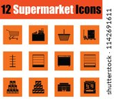 supermarket icon set. orange... | Shutterstock .eps vector #1142691611