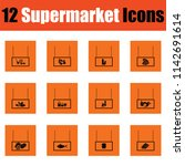 supermarket icon set. orange... | Shutterstock .eps vector #1142691614