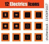electrics icon set. orange... | Shutterstock .eps vector #1142691617