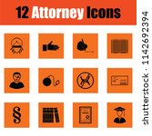 set of attorney icons. orange... | Shutterstock .eps vector #1142692394