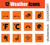 set of weather icons. orange... | Shutterstock .eps vector #1142692397