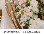 fabric with golden sequins and... | Shutterstock . vector #1142693831