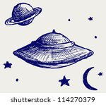 Постер, плакат: Space flying saucer Doodle